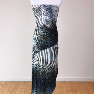 Sky strapless long wrap dress crystals at side M